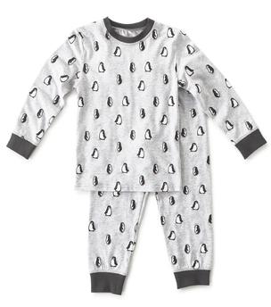 pyjama jongens grijs pinguin print Little Label