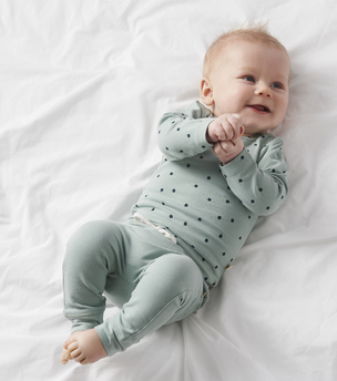 greenblue clover top on greenblue pants Little Label