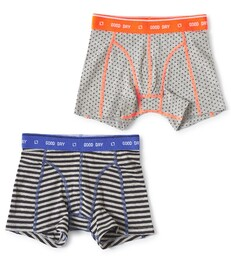 boxers set grey melee cross & small anthracite stripe Little Label