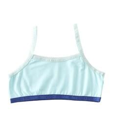 Meisjes croptop - uni ice blue - Little Label