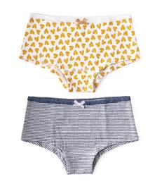 hipster set - hearts yellow & mini stripe blue Little Label