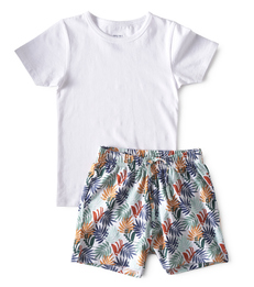 baby zomer pyjama - palm leaves green - Little Label
