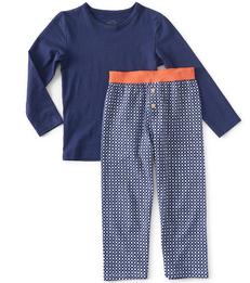 blauwe ruitjes pyjama jongens Little Label
