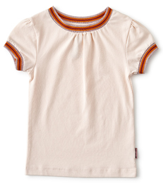 t-shirt contrast rib meisjes - roze - Little Label