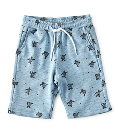 blauwe baby shorts met allover turtle print Little Label