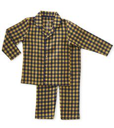 granddad pyjama jongens - yellow check - Little Label