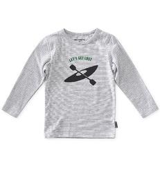baby jongens longsleeve - grey melee thin black stripe - Little Label