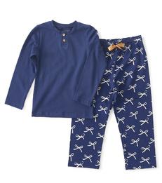 meisjes meisjes pyjama henley blauw strikjes Little Label