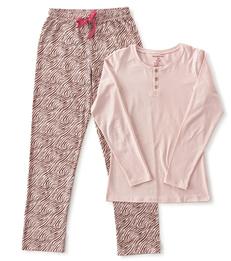 dames pyjama henley roze zebra Little Label