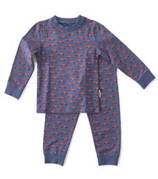 pyjama jongens blauw autootjes print Little Label
