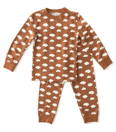 pyjama jongens bruin wolkjes print Little Label