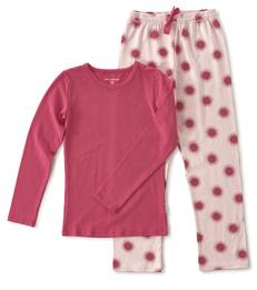 meisjes pyjama roze zonnetjes print Little Label