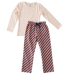 Meisjes pyjama - diagonal stripes in pink red blue Little Label