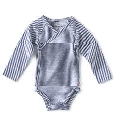 baby wikkel romper - blauw wit gestreept - Little Label