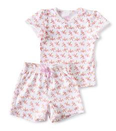 korte baby pyjama roze libellen print Little Label