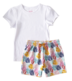 baby zomer pyjama - palm leaves pink - Little Label