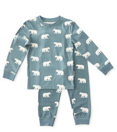 baby pyjama jongens blauw ijsberen print Little Label