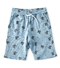 boys sweat shorts - blue all over turtle print