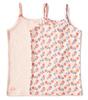 girls singlet 2-pack - pink flower combi