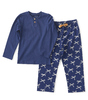 girls pyjama henley - blue bow