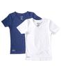 v-neck t-shirt 2-piece - white & uni dark blue