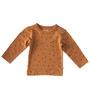 warm bruin shirt met klavertjes little label organic cotton